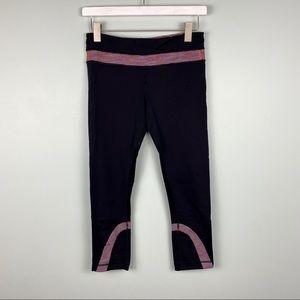 Lululemon Running Pink Striped Waistband Capris